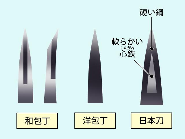 日本刀と包丁の断面図