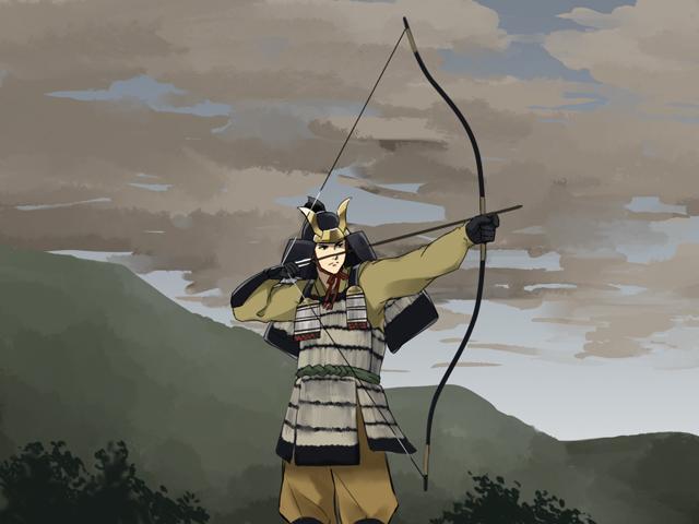 弓を射る武士