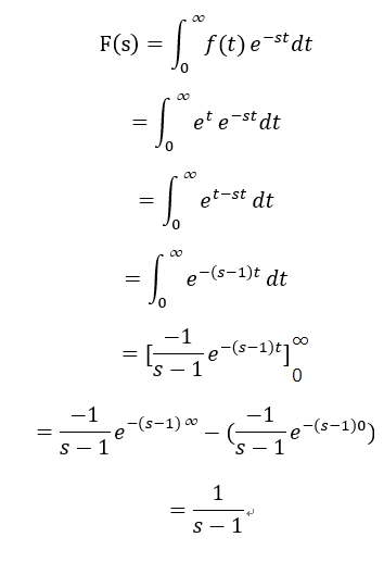 e^tのラプラス変換