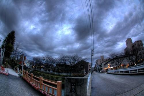 富山市 いたち川 2月 雪国