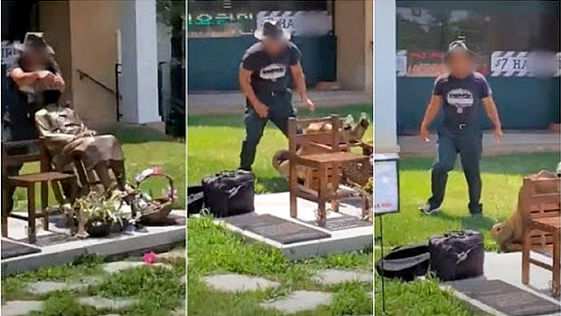 韓国、米国に設置した「慰安婦像」が在米韓国人とみられる男に倒される!