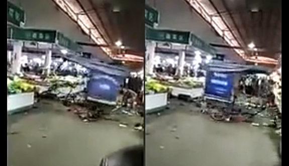 中国、市場で三輪車がグルグルと回転!