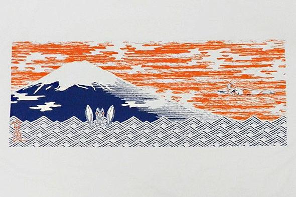 日本の心♪富士山とウルトラマンとバルタン星人の「手ぬぐい」1