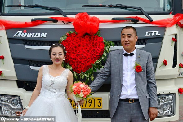【中国】新車の大型トラック36台連ねて結婚式&会社開業!3