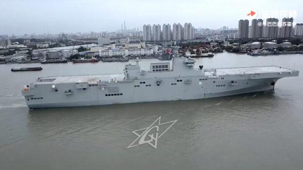 中国初の強襲揚陸艦「075型」初の試験航海