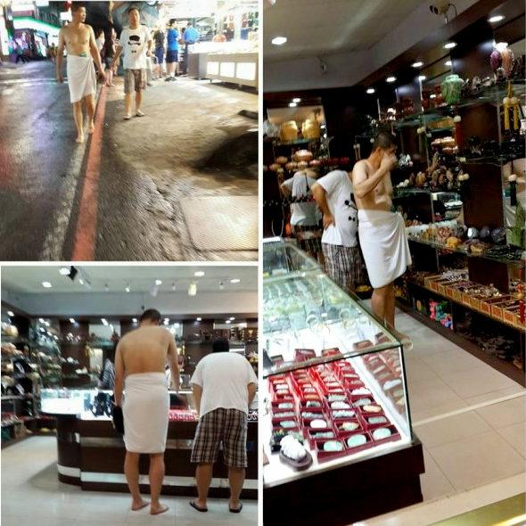 台湾、中国本土客が温泉街で「腰にタオル一丁」で土産物屋巡り