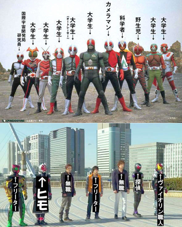 【画像】昭和ライダー vs. 平成ライダー