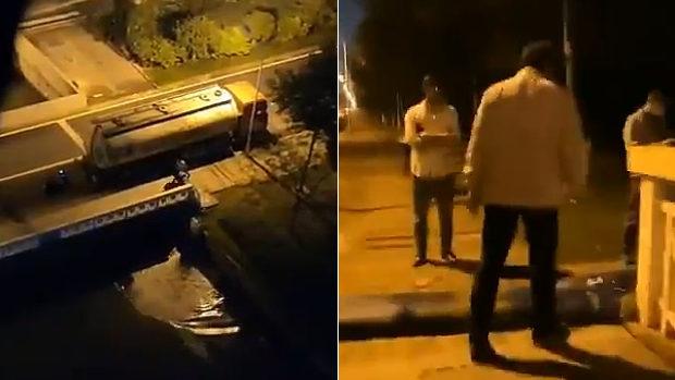 中国、深夜にタンク車が何かの汚水をこっそり川へ違法排水している!