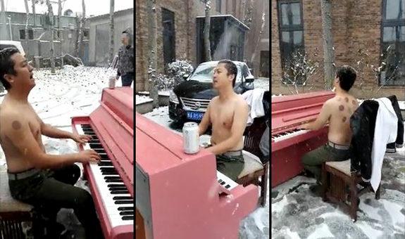 酔ったおっさんが雪の中、上半身裸で「北国の春」を熱唱