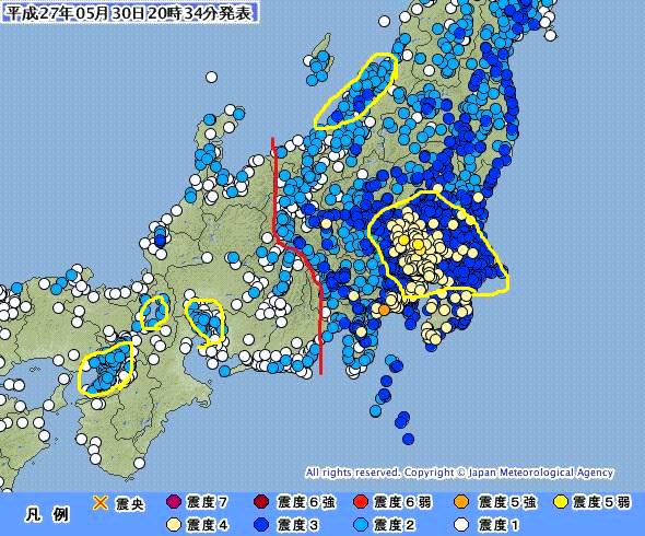 【画像】今日の地震、糸魚川静岡構造線の東西で揺れが違う。