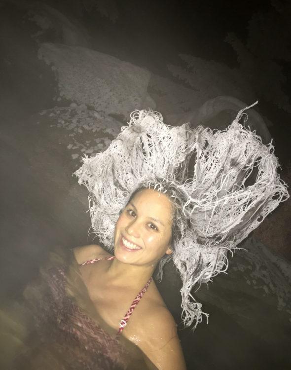 【画像】】気温マイナス29度で露天風呂に入った妻