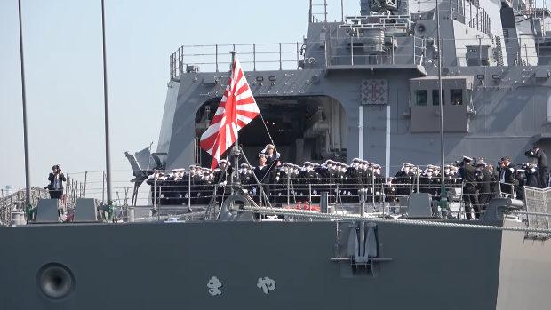 海上自衛隊、最新鋭 護衛艦まや型1番艦「まや」引渡式・自衛艦旗授与式
