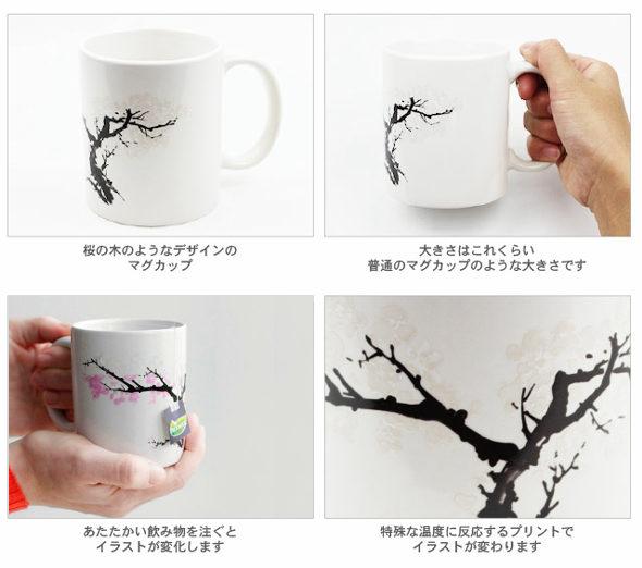 お湯を注ぐと「桜が咲く」マグカップ 「Morph Mug」2