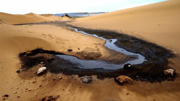 【中国】内モンゴルの砂漠に5万トンのドロドロの黒い汚染物質!製紙工場の廃棄物-1