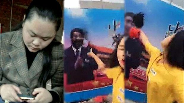 中国、習近平の顔に墨をかけた女性