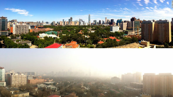 【中国】 「パレードブルー」から一転、1日で灰色の空に 北京