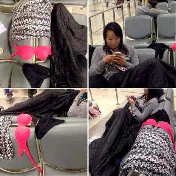 【中国】タイの空港ロビーで中国人女性が下着干す!2
