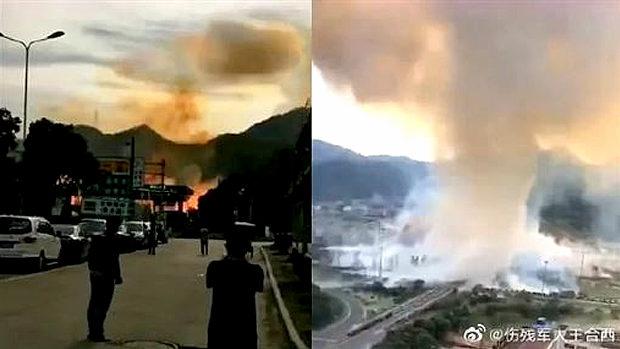 中国、高速道路でタンク車が大爆発!