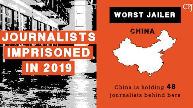 2019年「記者監禁人数」世界ランキング、監禁者250人中 1位は中国で48人