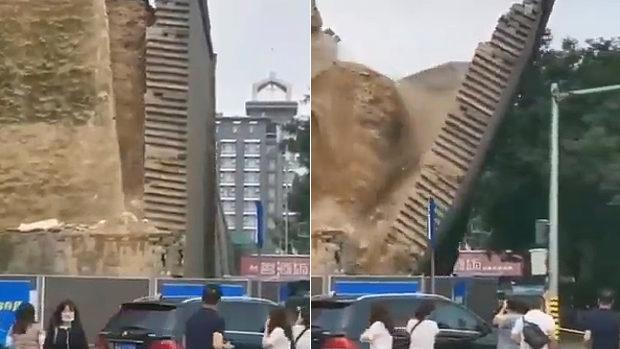 中国、西安市にある600年前の王宮遺跡の城壁が突然、崩落