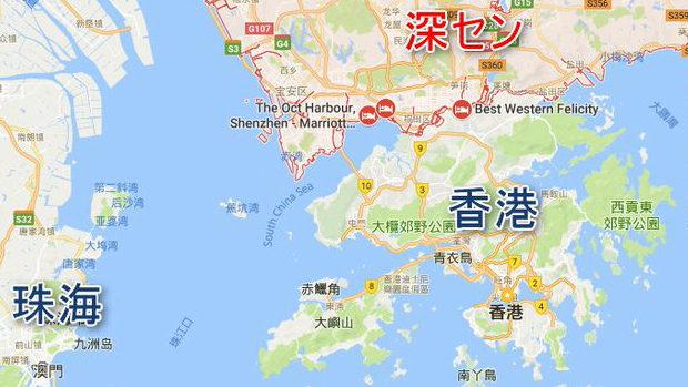 香港と中国・深セン、地図