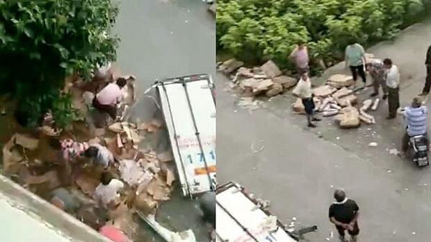 中国、「豚肉が天から降ってキター!」 付近住民が集まり恒例の略奪開始