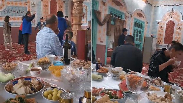【中国】ウイグル人の祈りの場であるモスク、中国人たちの宴会場にされてしまう!