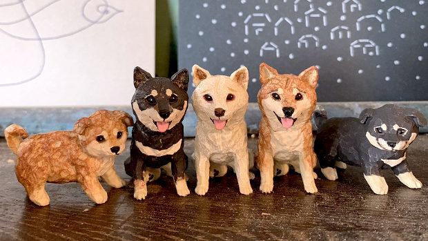 ART IN THE POCKET はしもとみお 犬の彫刻 全5種-1