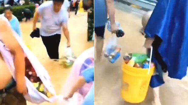 中国、洪水で倉庫から30万本の飲料が流される!洪水の中、市民集まり略奪