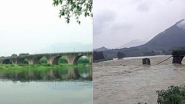 中国、保護文化財の明代の古橋が洪水によって崩壊、流される!