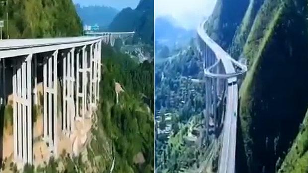中国、険しい山岳地帯に高速道路作ってみた、Uターン用道路もあります