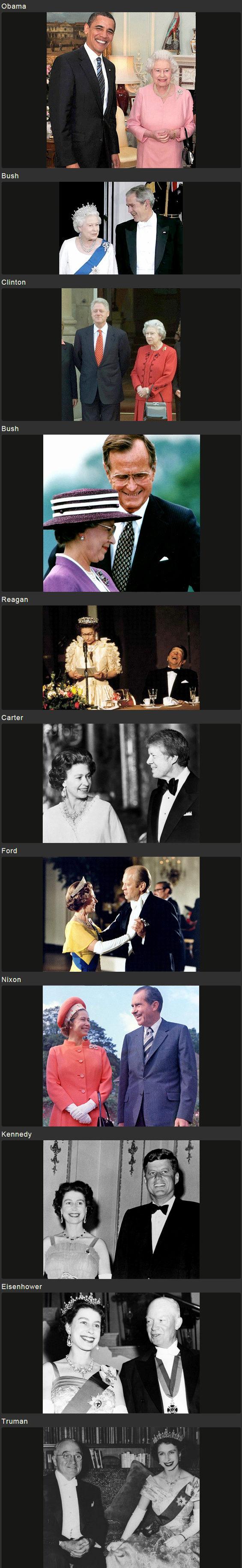 【画像】 英連邦女王 vs. 米歴代大統領 ~ Queen vs. President