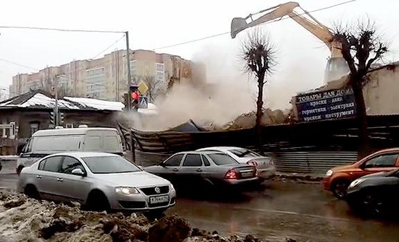 おそロシアのビル解体作業
