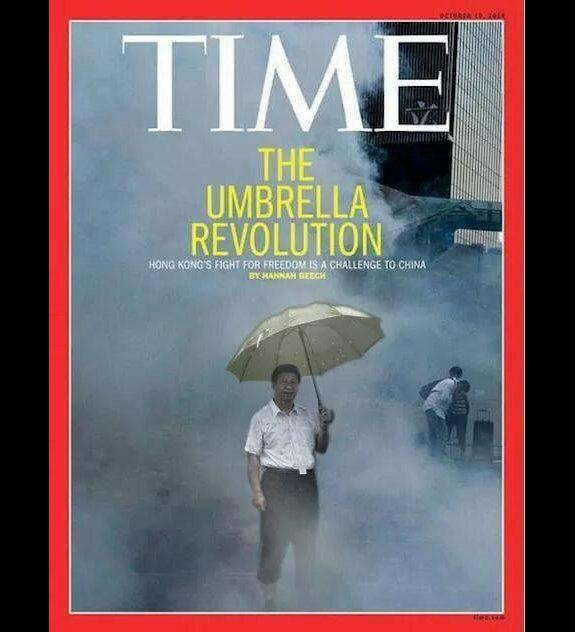 「傘を差す習近平」香港コラ2