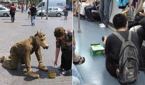 中国、上海地下鉄の「職業物乞い」2