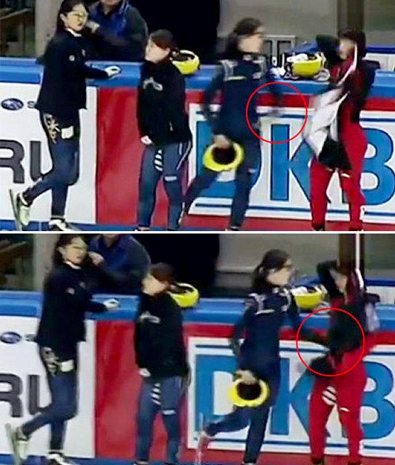 <ショートトラック>韓国選手が中国選手に腹パン!