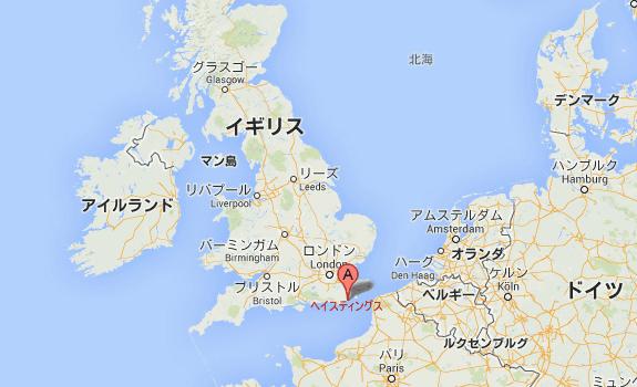 英国、ヘイスティングス、地図