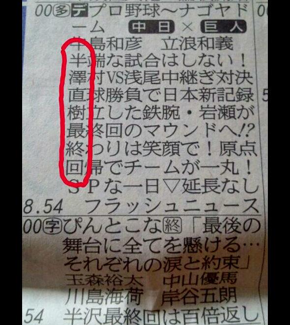 今日の岐阜新聞のテレビ欄