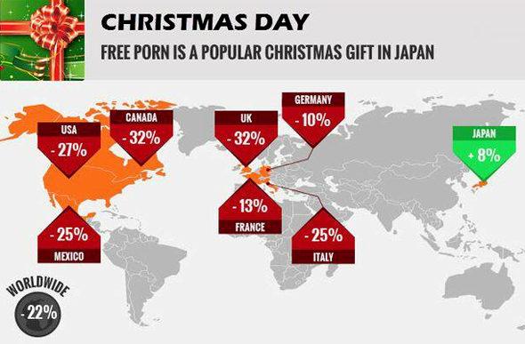 【画像】アダルトサイトのXmasのアクセス数 ⇒ 世界は減少 日本は増加!