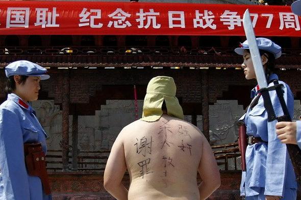 【中国】抗日戦争77周年紀念活動、少女兵が日本兵を生け捕り5