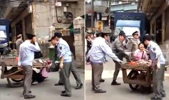 中国、ヤクザ小役人「城管」が露天商を無慈悲に取り締まる