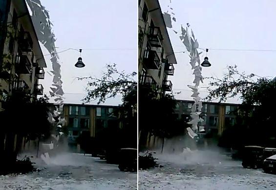 米テキサス州、ダラスの街中で「雪崩」