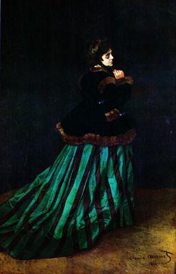 モネ「カミーユ(緑の衣裳)」
