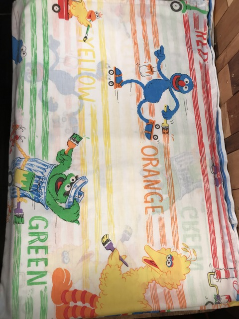 "Vintage Sesame Street ""Color"" Twin Flat Sheet (24)"