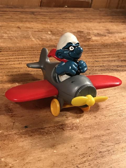 """Vintage Schleich Smurf """"Airplane"""" PVC Figure (3)"""