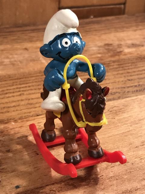 """Vintage Schleich Smurf """"Rocking Horse"""" PVC Figure (3)"""