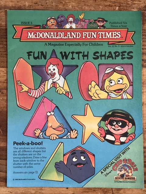 "Vintage McDonaldland Fun Times ""Fun With Shapes"" Magazine (1)"