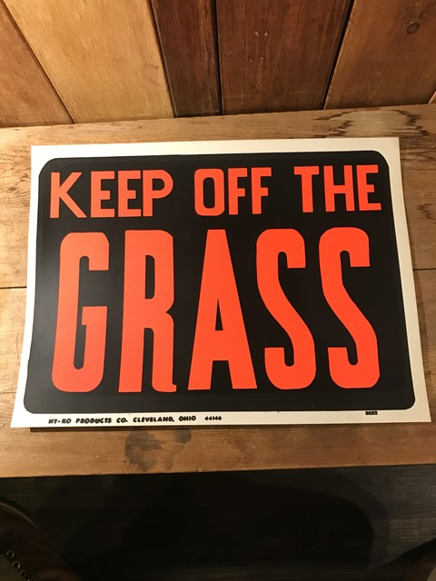 vintage keep off the grass hardware sign (1)