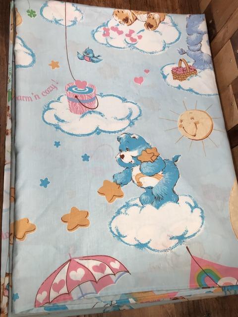 Vintage Care Bears Twin Flat Sheet