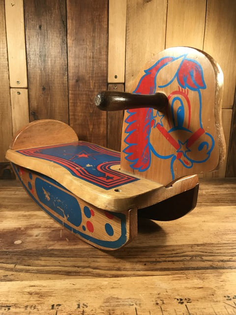 Vintage Mini Wood Rocking Horse (2)